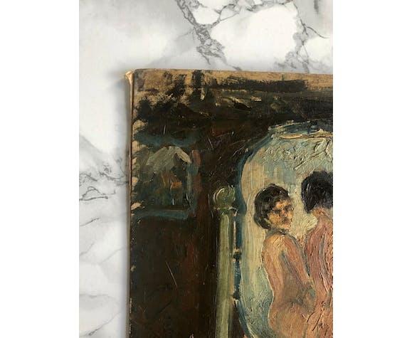 Huile sur panneau représentant une femme nue devant son miroir