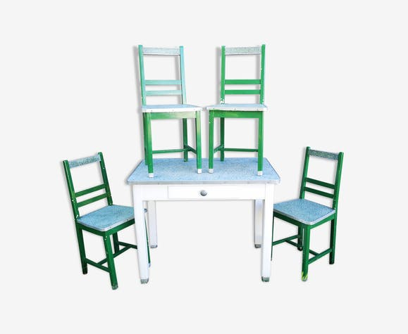 Kitchen Table With 4 Vintage Chairs 1950s Selency