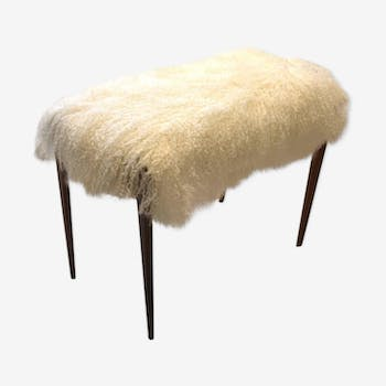 Italian stool re-paper with tibet lamb wool, 60 years