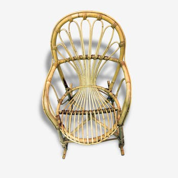 Rocking-chair enfant rotin vintage