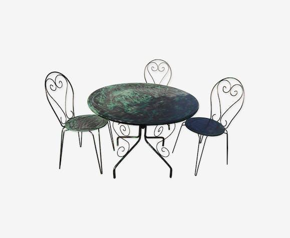 salon de jardin en fer forg fer vert classique q7wlxbd. Black Bedroom Furniture Sets. Home Design Ideas