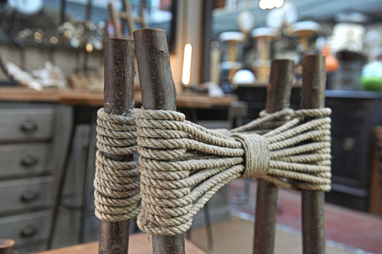 Vintage wooden chairs and 1950s rope