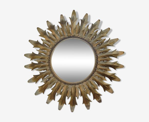 Miroir soleil rond en métal. 66cm