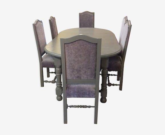 Lot Table Salle A Manger Avec Rallonges Et Ses 6 Chaises Bois
