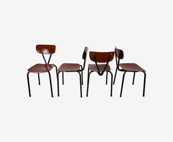 Set of 4 industrial chairs years 50-60 Pagwood Pagholz