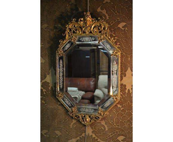 Miroir vénitien en bronze 52x88cm