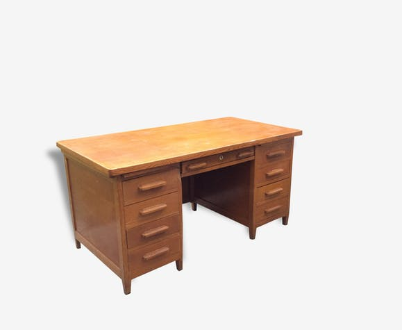 grand bureau de ma tre d 39 cole administration en ch ne vintage 1950 bois mat riau bois. Black Bedroom Furniture Sets. Home Design Ideas