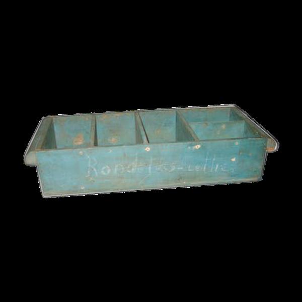 Boite caisse tiroir bois bleu