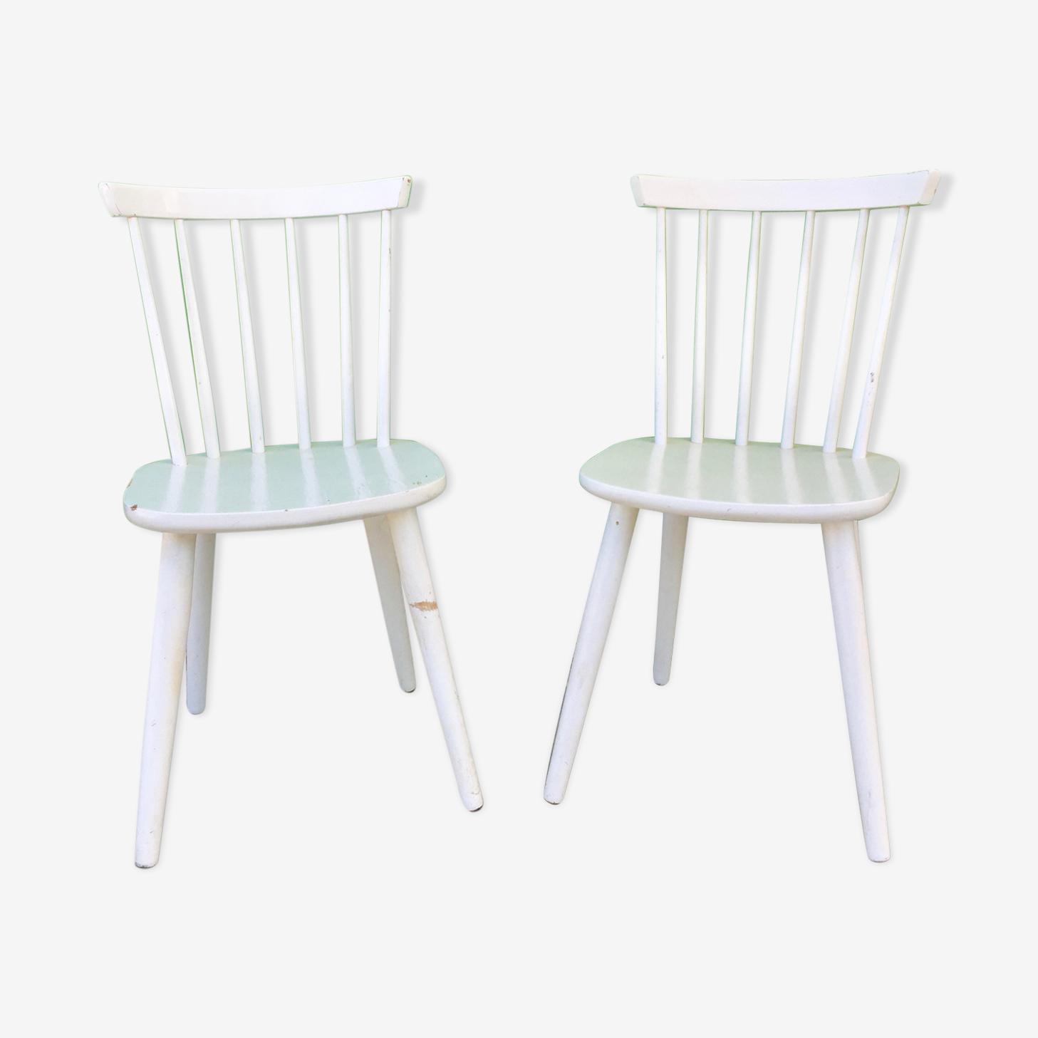 Paire de chaises anglaises vintage à barreaux