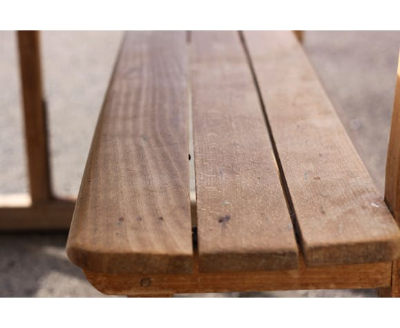 Pupitre d'écoliers deux places en bois massif