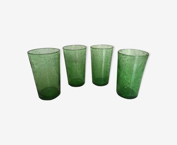 Set de 4 verres gobelets de Biot en verre bullé années 60