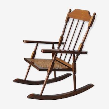 Rocking chair en bois canné vintage enfant