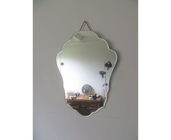 Miroir ancien art déco biseauté 55 x 41 cm