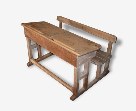 Bureau décolier en bois 1930 wood brown vintage 116366