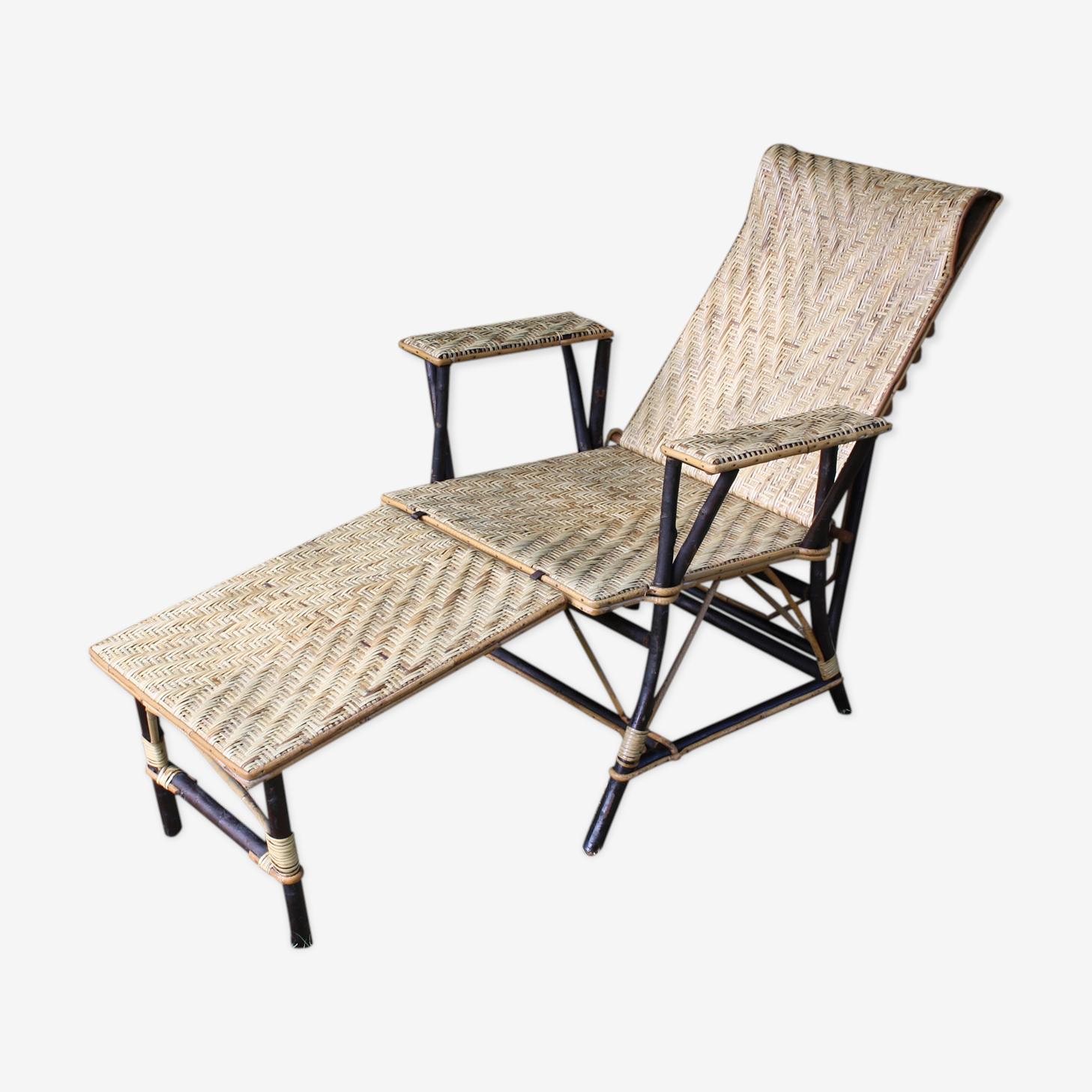 Chair long vintage rattan