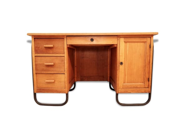 bureau de ma tre d 39 cole vintage en ch ne bois mat riau bois couleur classique 52736. Black Bedroom Furniture Sets. Home Design Ideas