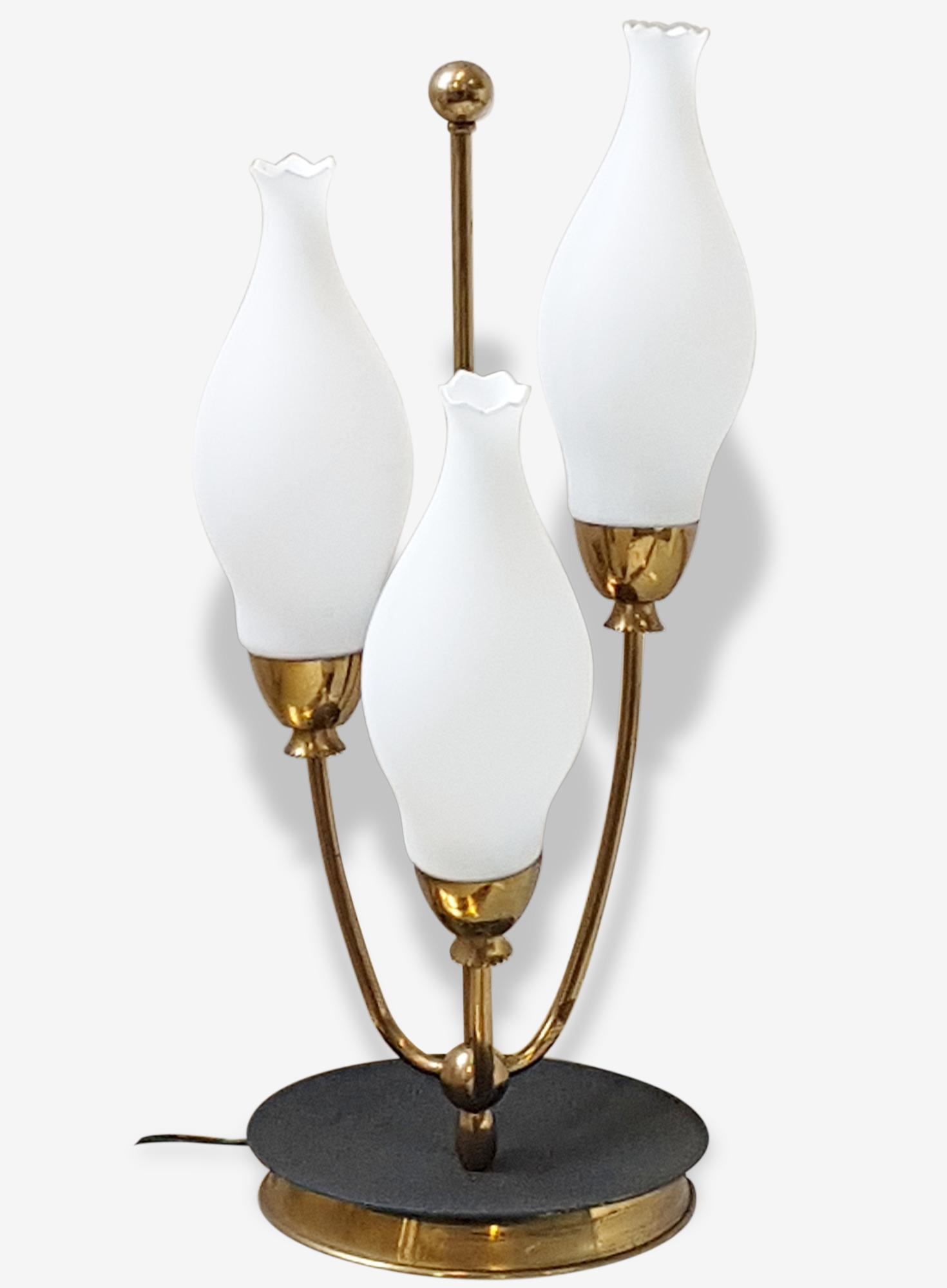 """Lampe de table triple années 50 avec verrines forme """"muguet"""" 1950"""