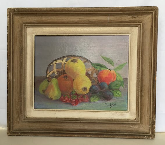Oil on panel: still life with fruit