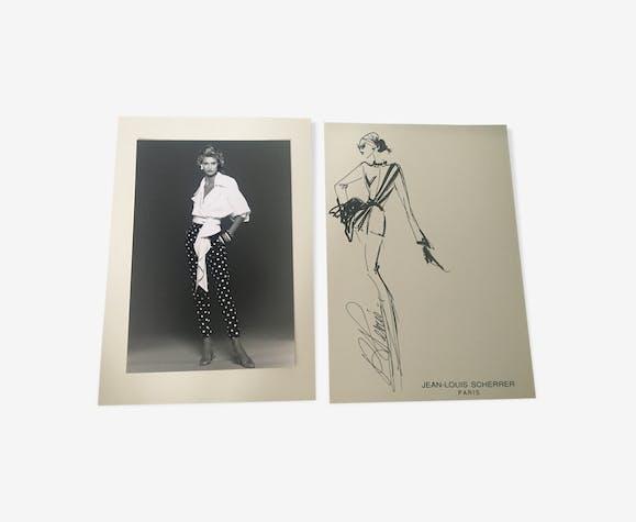 Jean-Louis Scherrer: illustration de mode & photo de presse vintage . 1991
