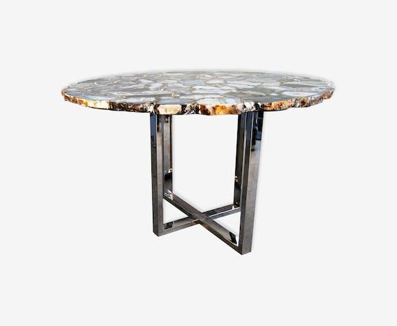 Table Brésil Plâtre Pierre Et Gris Du Design Belle En Agate wOkN0PXn8Z