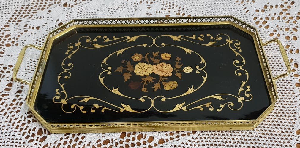 Old marquetry tray and gilded brass