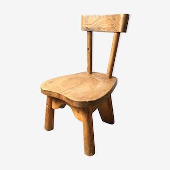 Chaise basse enfant design René Faublée pin massif chalet vintage 50 original