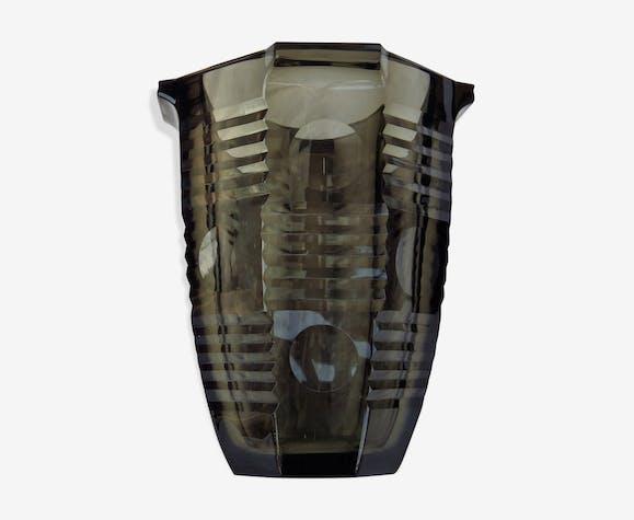 Circa 1970 Smoked Glass Vase Glass And Crystal Grey Vintage