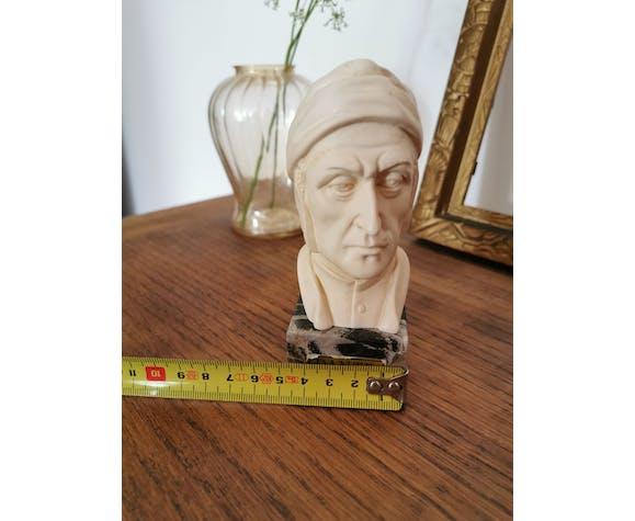 Buste de dante sur socle en marbre signé Casea