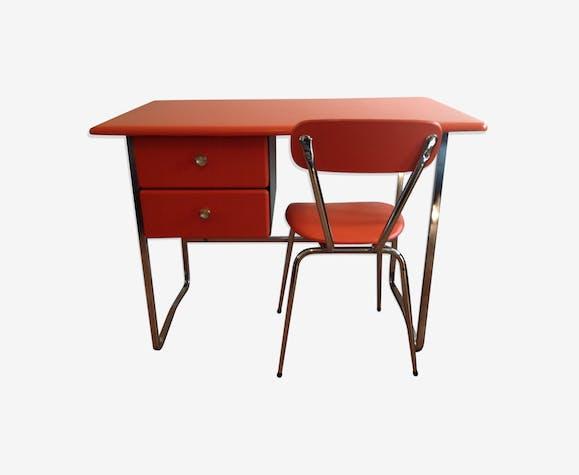 Bureau orange pop skaï et chrome avec sa chaise vintage