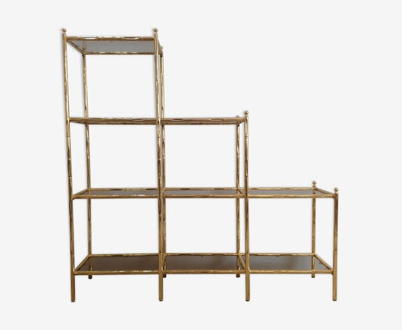 Etagère «faux bambou» en métal doré années 80