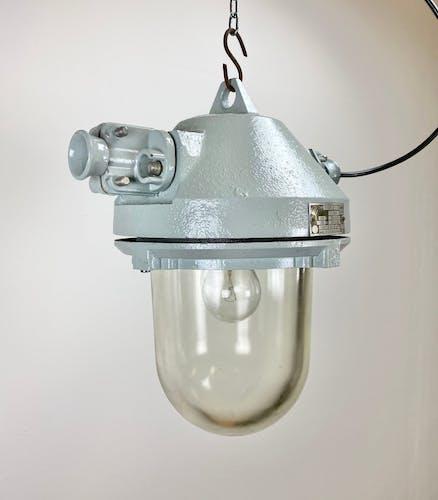 Lampe industrielle grise antidéflagrante, années 1970