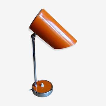 Lampe de bureau en métal orangé années '50'