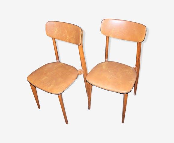 Duo of brown Scandinavian chairs