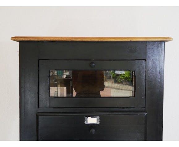 Meuble de metier a tiroirs en bois peint