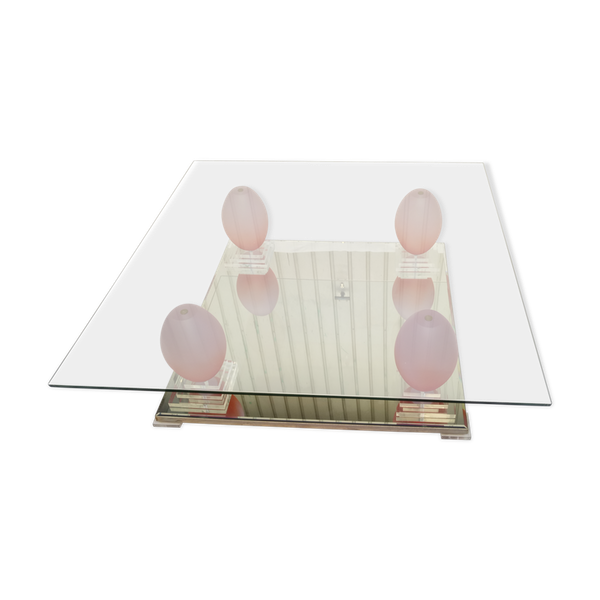 Table basse carré plateau design année 80 vintage en verre et miroir Roche Bobois