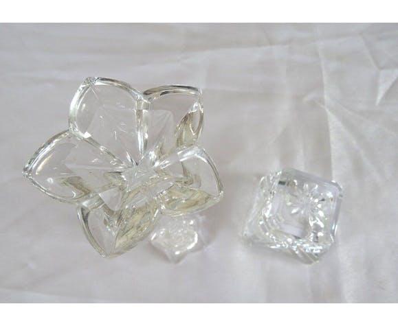 2 glass candlesticks