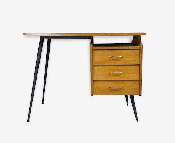 bureau ancien pieds compas m tal bois mat riau bois couleur vintage 158563. Black Bedroom Furniture Sets. Home Design Ideas