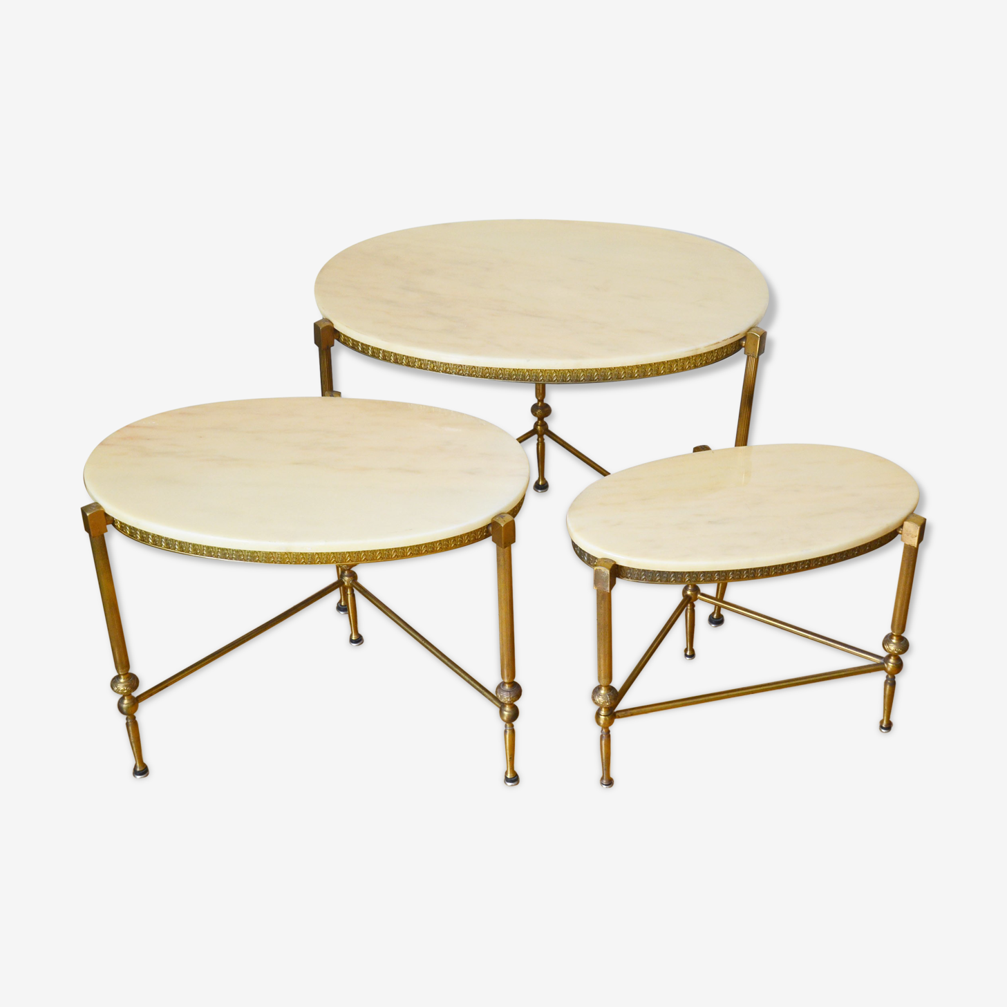 Lot 3 nesting tables Marble 60s