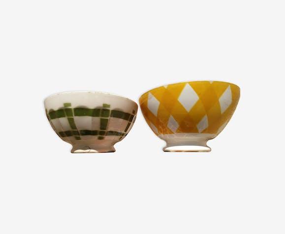 Paire de bols vintage jaune et vert de Digoin