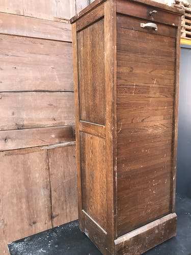 Cabinet with louver or curtain