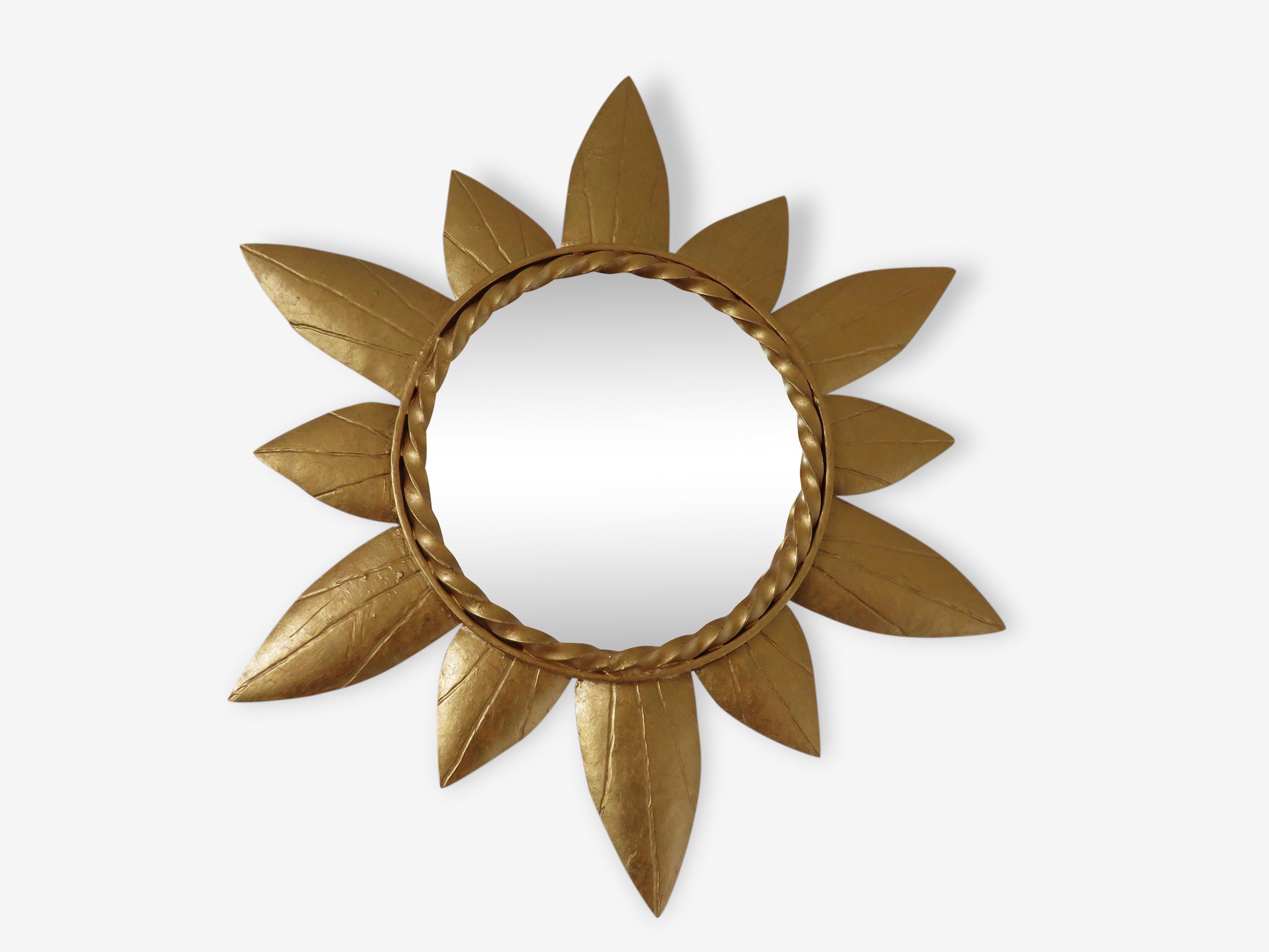 Miroir soleil en métal doré des années 60-70