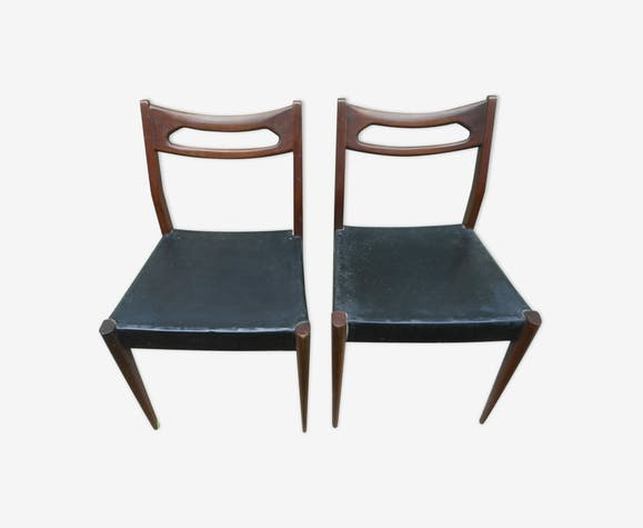 2 Scandinavian chairs wood and imitation