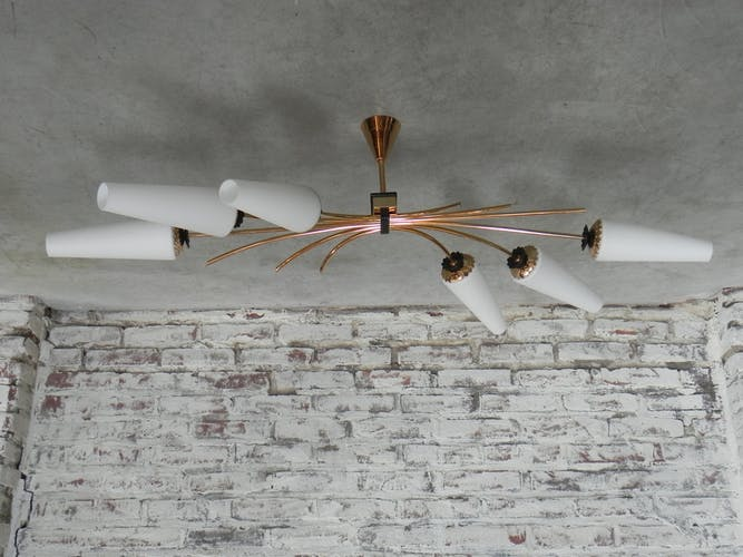 Vintage chandelier with 6 glass shades