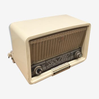 Former Philips white bakelite radio and bakelite buttons vintage decoration