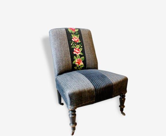 chauffeuse napol on iii bouquet bois mat riau noir classique 29112. Black Bedroom Furniture Sets. Home Design Ideas