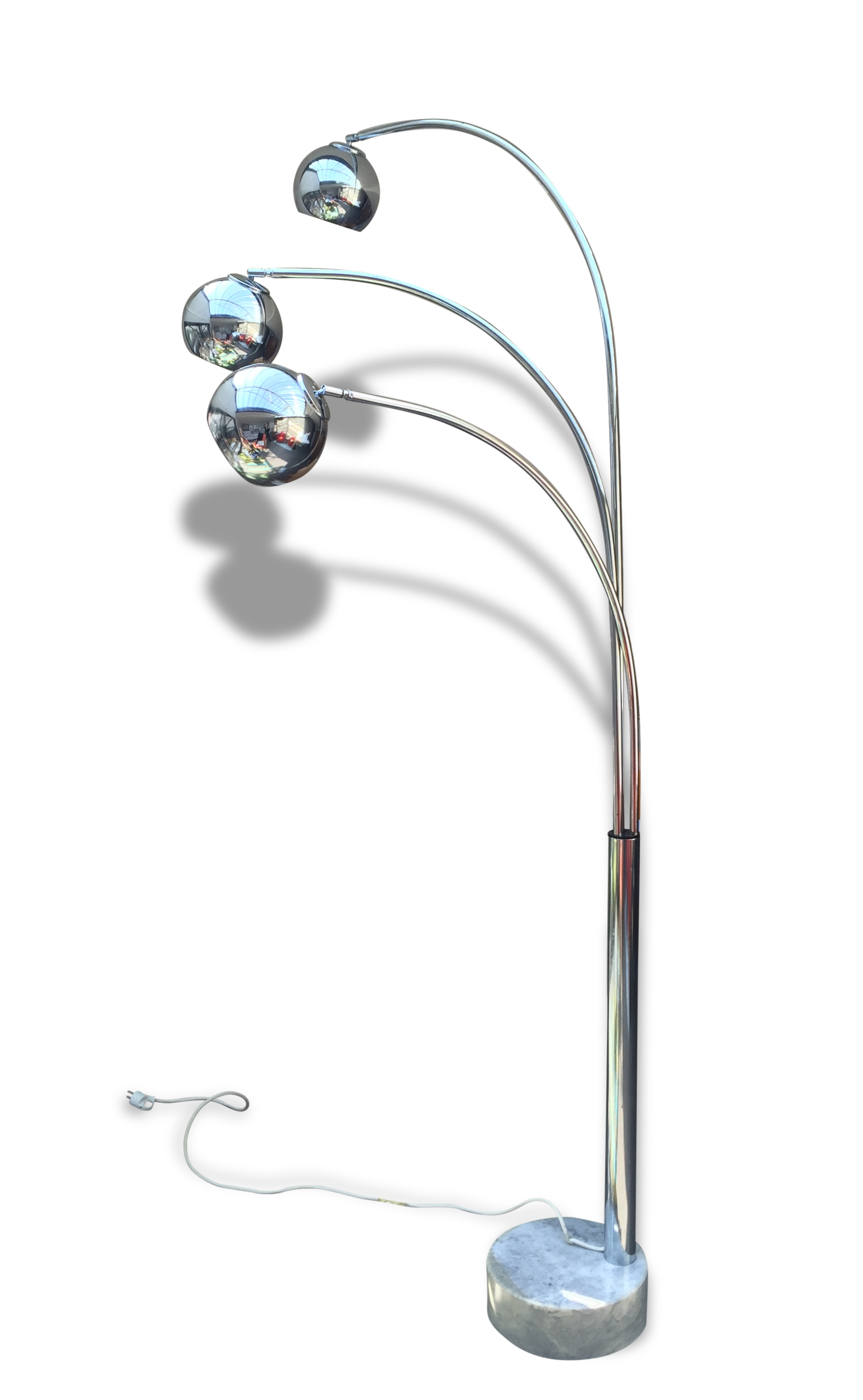 lampadaire annees 70 - 3 tiges a boules chromees