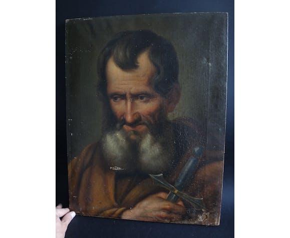 Peinture ancienne portrait à l'huile homme barbu épée XIXème