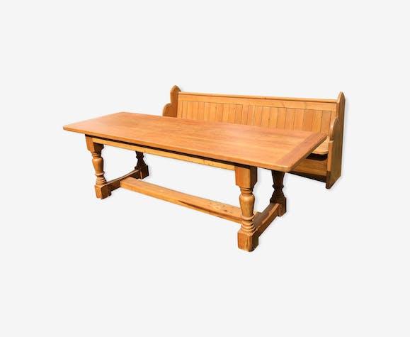 Table Et Banc Salle A Manger.Table De Salle A Manger En Bois Et Son Banc D Eglise