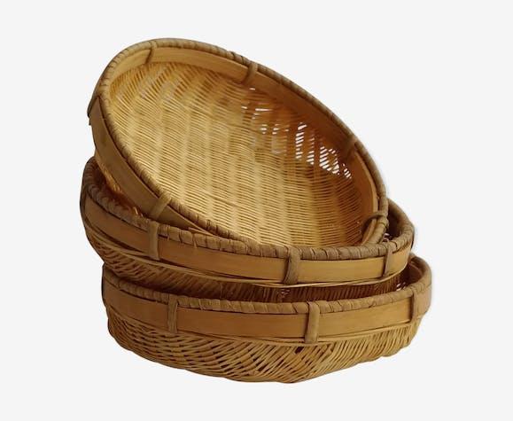 3 coupelles style rotin  en vannerie de bambou  12cm