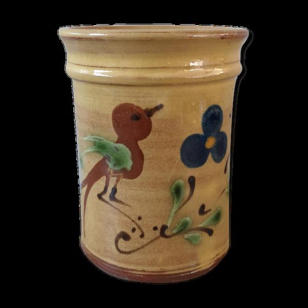 Pot à ustensiles peint main